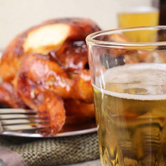 Κοτόπουλο ολόκληρο με μπύρα