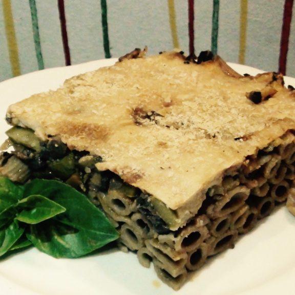 Παστίτσιο με λαχανικά, tofu και γάλα σόγιας