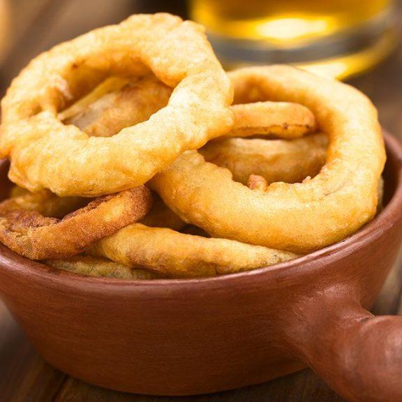Onion rings με κουρκούτι μπύρας